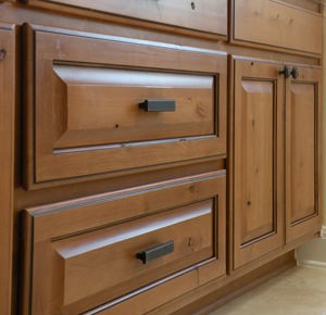 this is our own adaptation to the standard face frame cabinet the difference is a tighter reveal between doors and drawers to create a frameless look on