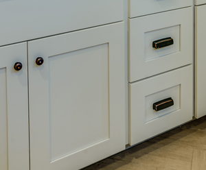 the difference is a tighter reveal between doors and drawers to create a frameless look on a face frame cabinet